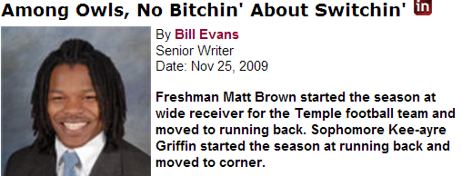 One of the greatest position changes ever made at Temple: Matt Brown from slot receiver to RB. Khalif Herbin would give the Owls some high-end Matty Brown-type depth at RB.