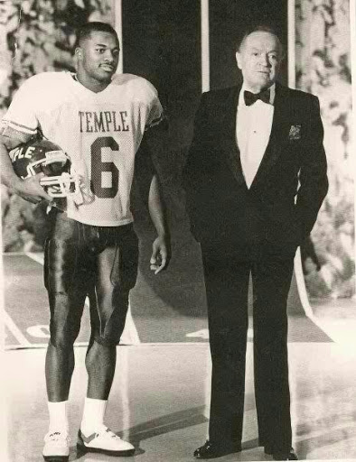 Paul with Bob Hope, who lived to 100 accepting his first-team All-American Award on live NBC TV.