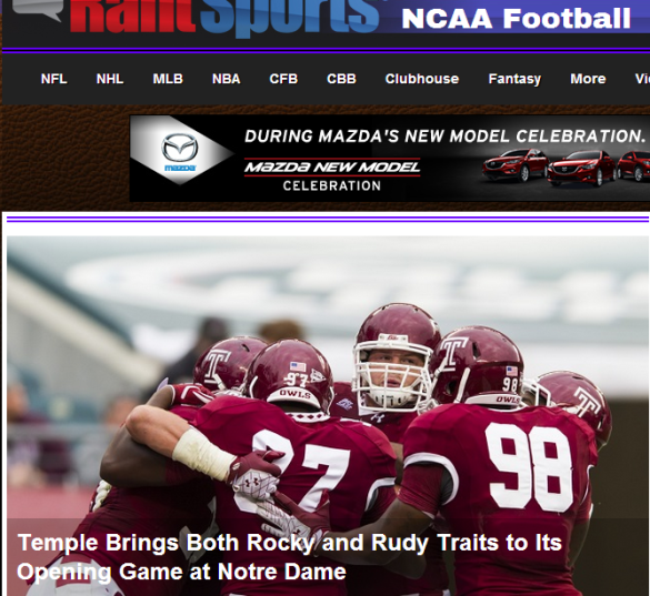 Today's Temple at Notre Dame story led the national Rantsports.com college football website.