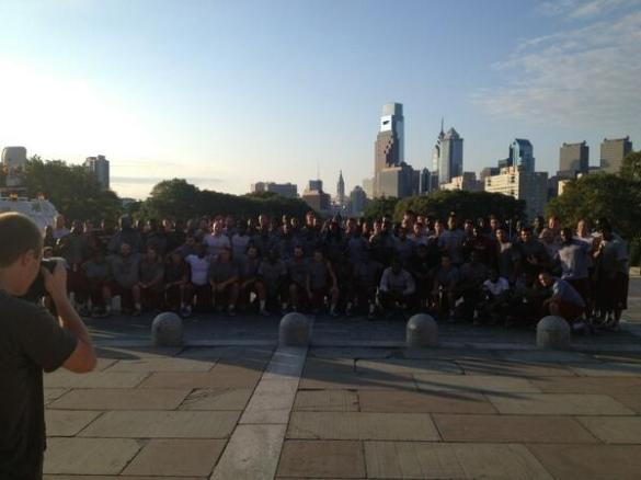 Temple football after working out on the Art Museum (Rocky) steps recently.