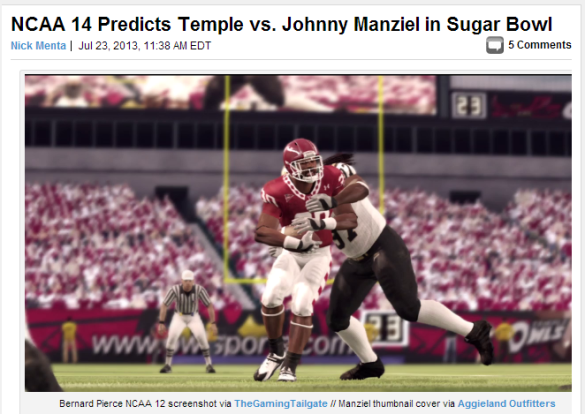 Thanks to the NCAA suspending Johnny Manziel, his bowl game against Temple is still in play ...