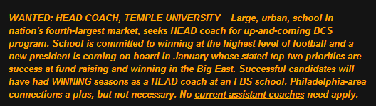 These are the strict guidelines I suggested for the new Temple coach in a post on Dec. 4, 2012