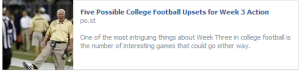Click on photo of George O'Leary for five possible college football upsets this week.