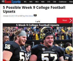 Click on the fat Vandy guys for 5 upsets this week.
