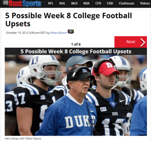 Click over the Duke coach for five upsets this week.