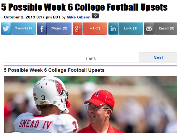 Click over the photo of a great head coach, Ball State's Pete Lembo, for five possible upsets this weekend. We're already 1-0 with Iowa State covering the 9 against Texas. If you win any money this weekend, please throw one percent this way via a pay pal donation. Thanks.