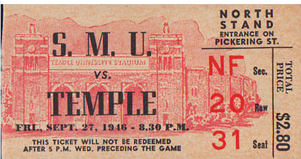 Not my ticket. Two things that struck me about this. The game kicked off at 8:30 p.m. on a Friday night on the East Coast (and I don't think TV had anything to do with it) and 31 seats in one row is a lot of seats.
