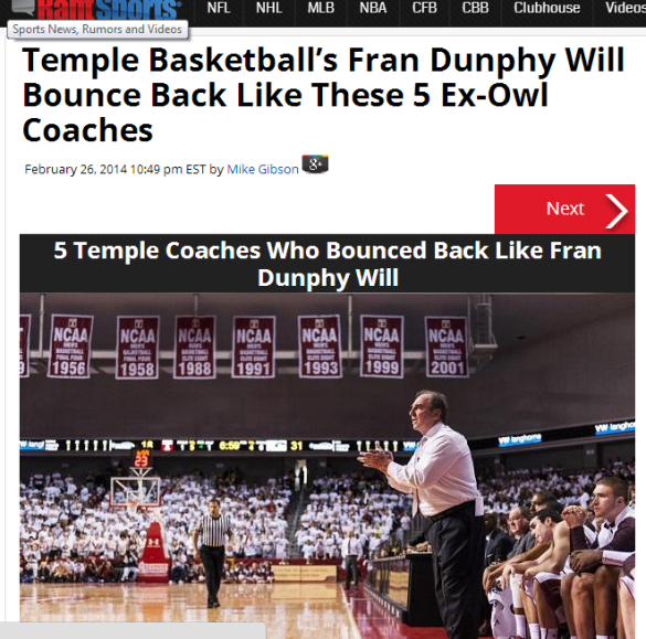 Click on the sold-out crowd to find out that this kind of season happened to five other great  Temple coaches, too. Also, find the three (3) Temple football references in this story.