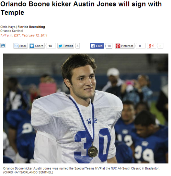 Click on the photo of Austin Jones to read more about his decision.