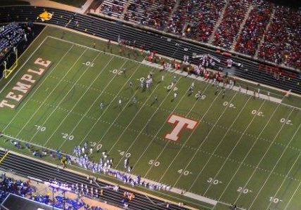 Hopefully, the new Temple Stadium doesn't have a track around it like this one does. I want the fans right on top of the action.