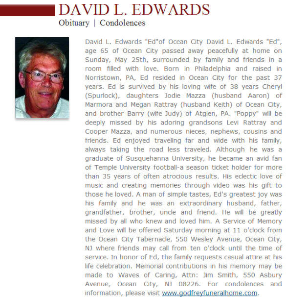 click here to read more of Dave Edwards' obit.