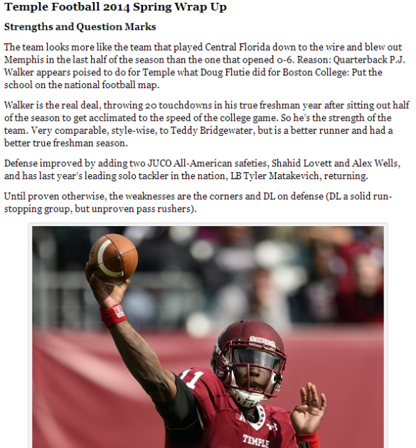 Click on the photo of P.J. Walker for a Temple football spring wrap.