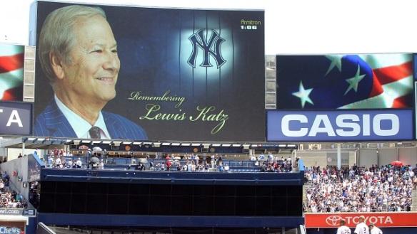 Yankee Stadium's tribute          Sunday to Lewis Katz, part owner of the YES Network.