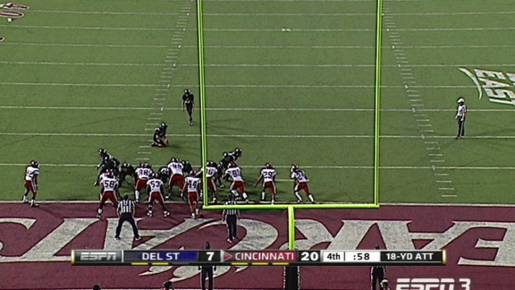 Cincinati had to kick a field goal with 18 secods left here to beat Delaware Sttate, 23-7, in 2012.