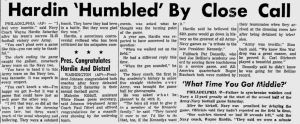 "Pure coach Hardin. After the 1962 win over Army, reporters asked him what was the turning point: ""When we walked onto the field."" Classic. Love it."