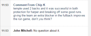 "Inquirer's John Mitchell and ""Chip K."" discuss Temple's new 2-back offense in this morning's chat. I think Chip meant Walker, not Harper."