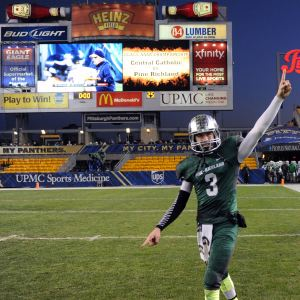 Ben DiNucci after winning WPIAL Class AAAA championship for Pine-Richland.