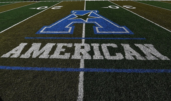 NEW ORLEANS, LA - OCTOBER 31:  Detailed view of the American conference logo on the field prior to a game between the Tulane Green Wave and the Cincinnati Bearcats at Yulman Stadium on October 31, 2014 in New Orleans, Louisiana.  (Photo by Stacy Revere/Getty Images)
