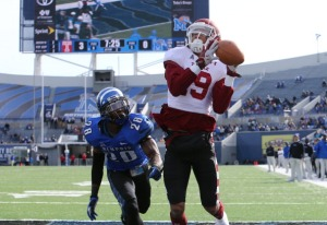 MEMPHIS, TN - NOVEMBER 30: Robbie Anderson #19 of the Temple Owls catches a touchdown pass against Andrew Gaines #28 of the Memphis Tigers on November 30, 2013 at Liberty Bowl Memorial Stadium in Memphis, Tennessee. Temple beat Memphis 41-21. (Photo by Joe Murphy/Getty Images)