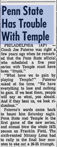 Here is the Infamous quote by Joe Paterno.