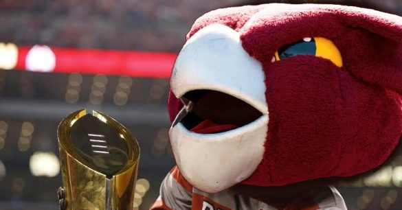 Hooter lifting the National Championship trophy. (Photoshop byChris Ventura from Rappid Development, a company run by recent Temple grads)