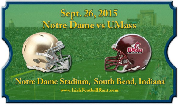 Umass at Notre Dame, NBC 10, Saturday, 3:30