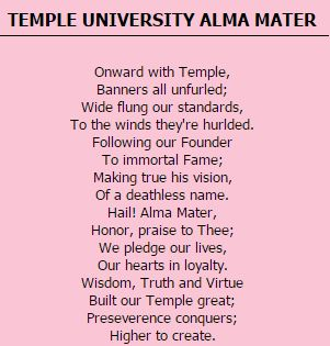 Words of the alma mater. Please memorize. Thanks.