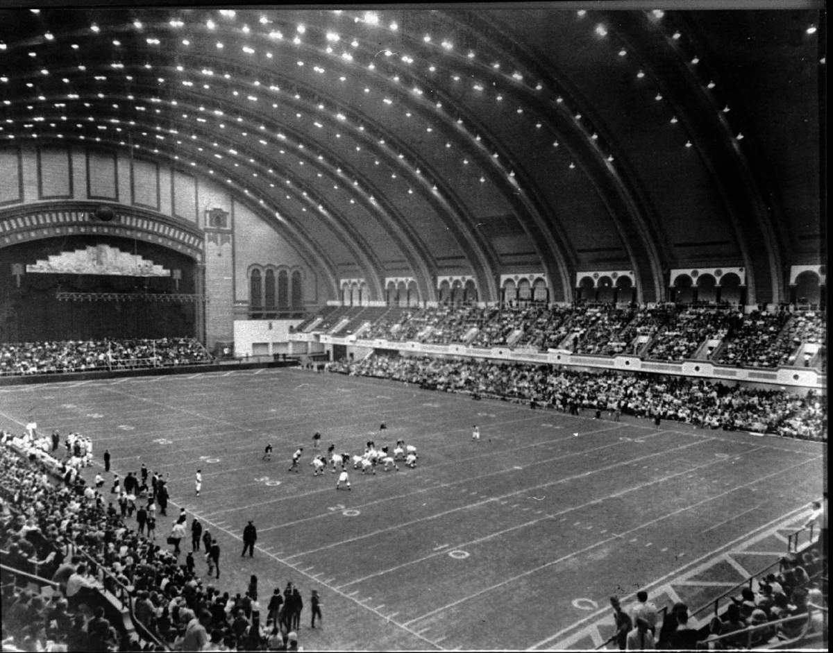 Football inside Convention Hall